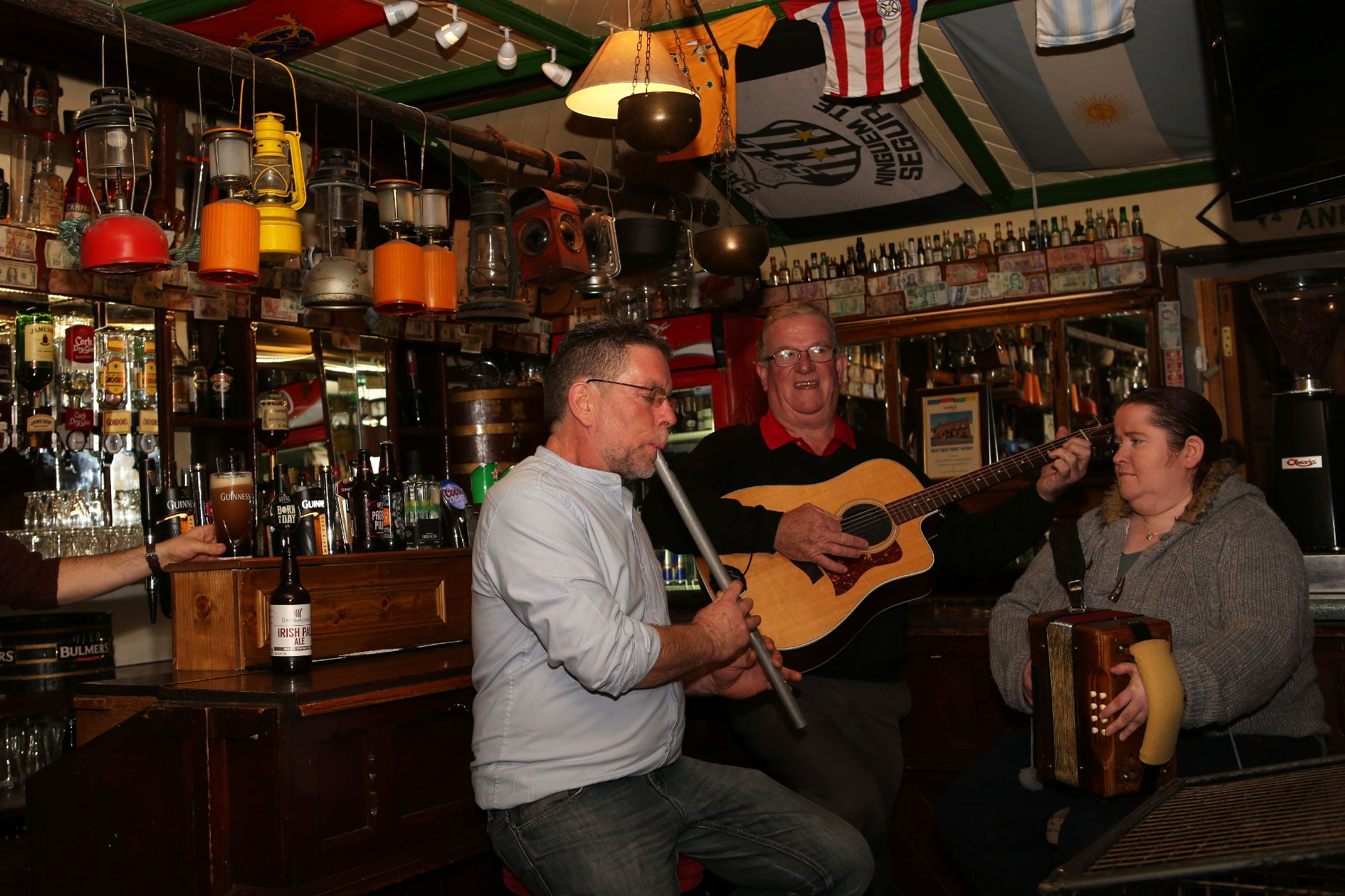 Interior of Irish Bar at the Glyde Inn with Traditional Musicians